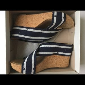 LUCKY Nautical stripe wedge sandals
